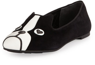Marc by Marc Jacobs Shorty Suede Dog-Face Smoking Slipper, Black