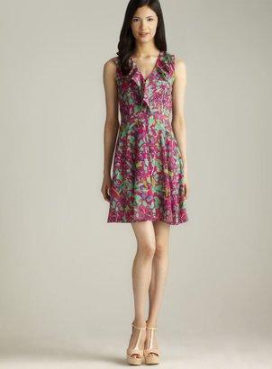 Marc New York Sleeveless Printed Ruffled V-Neck Dress