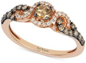 LeVian Le Vian Diamond Three-Stone Ring in 14k Rose Gold (1/2 ct. t.w.)