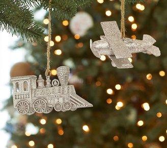 Pottery Barn Kids Transportation Glitter Ornaments