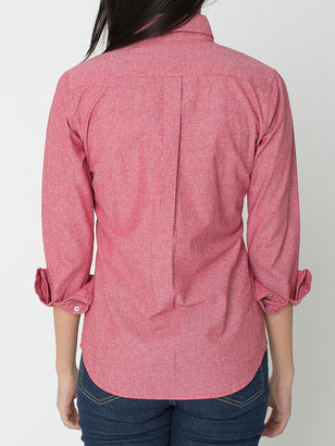 American Apparel Unisex Chambray Long Sleeve Button-Down