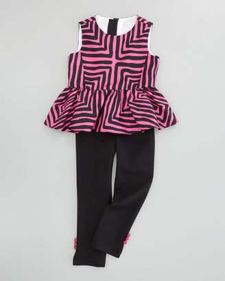 Milly Minis Ponti Leggings with Button Accents, Black