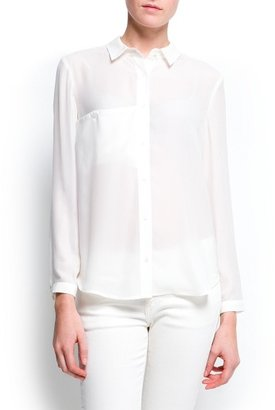 MANGO Sheer loose-fit blouse