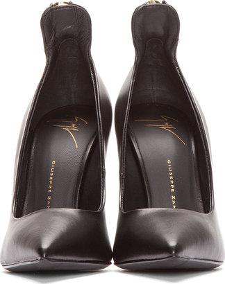 Giuseppe Zanotti Black Leather Zippered Pumps
