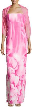 Monique Lhuillier ML Hydrangea-Print Strapless Gown, Pink