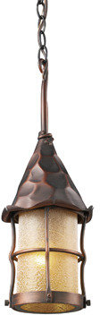 Bed Bath & Beyond Rustica Outdoor Single Light Pendant With Antique Copper Finish and Amber Glass