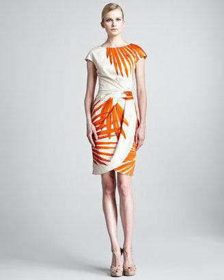 Lela Rose Brush-Print Ruched Dress