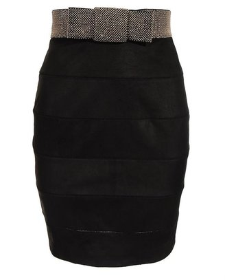 Balmain Leather Band Skirt with Studded Waistband