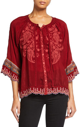 Johnny Was Nasiba 3/4-Sleeve Embroidered Blouse