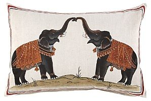 John Robshaw Two Elephants Decorative Pillow, 12 x 18