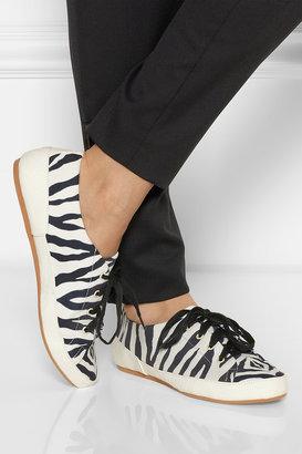 Charles Philip Shanghai Bianca zebra-print twill sneakers
