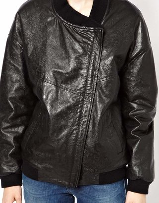 HIDE Karin Assymetric Bomber in Embossed Leather