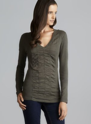 XCVI Long Sleeve V-Neck Ruched Front Top