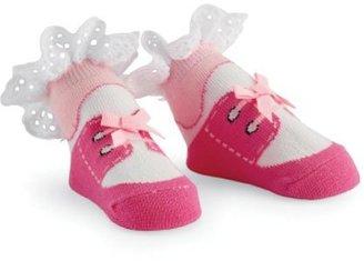 Mud Pie Baby-girls Newborn Eyelet Lace Up Shoe Socks