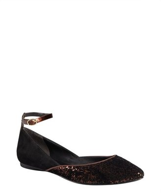 Sigerson Morrison black suede and bronze sequined velvet 'Haidya' flats