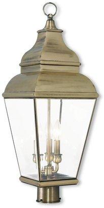 Livex Lighting Exeter 3-Light Outdoor Antique Brass Post Light