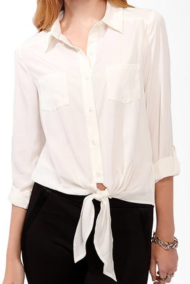 Forever 21 Button Up Tie Blouse