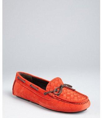 Bottega Veneta fire suede intrecciato suede boatstitched loafers