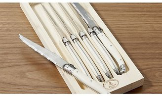 Crate & Barrel Set of 6 Laguiole ® Ivory Steak Knives