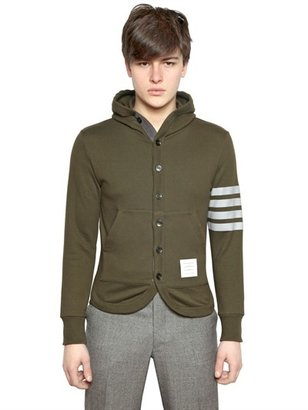 Thom Browne Cotton Fleece Button Up Cardigan