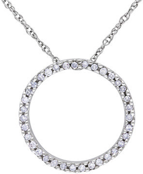 Bed Bath & Beyond 10K White Gold, Diamond Circle Pendant w/Chain (1/8 cttw, G-H Color, I1-I2 Clarity)