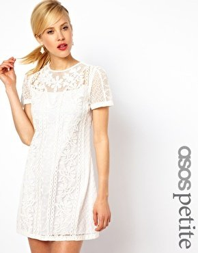 Asos Exclusive Embroidered Beaded Mini Shift Dress - White