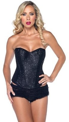 Leg Avenue Sexy Sequin Corset Support Boning Hook And Eye Back