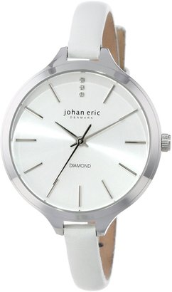 Johan Eric Women's JE2100-04-001 Herlev Diamond-Accented Stainless Steel Watch with White Leather Band