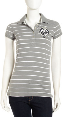 Superdry Striped Embroidered Polo, Mid Gray