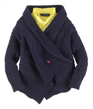 Ralph Lauren Girls 2-6X Long-Sleeve Cotton Wrap Sweater