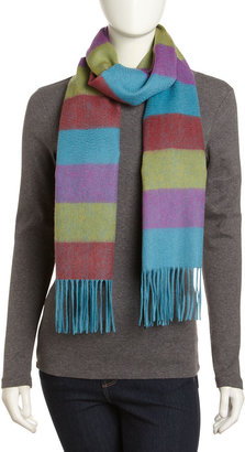 Neiman Marcus Cashmere-Wool Striped Scarf, Aqua