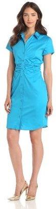 Chaus Women's Short Sleeve Rouched Shirt Dress