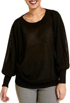 Marina Rinaldi Plus Size Acropoli Bishop-Sleeve Viscose Sweater