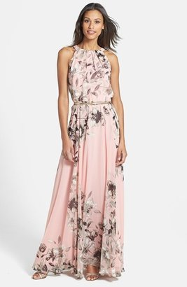 Petite Women's Eliza J Belted Chiffon Maxi Dress $158 thestylecure.com