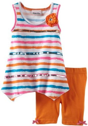 Little Lass Girls 2-6X 2 Piece Short Set With Stripes And Flower