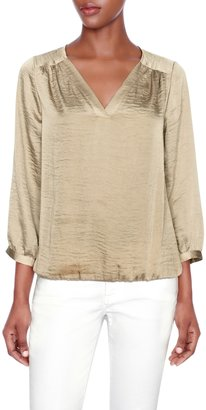 The Limited Shirred V-Neck Popover Blouse