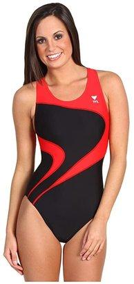 TYR Alliance T-Splice Maxback (Black/Red) Women's Swimwear