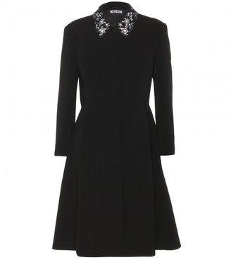 Miu Miu Crepe coat with embellished collar