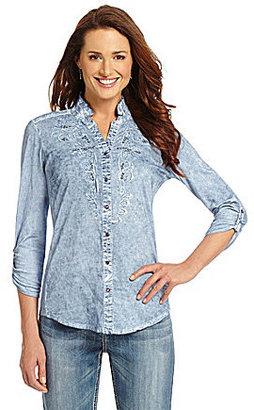 Reba Catalina Roll-Tab Chambray Shirt