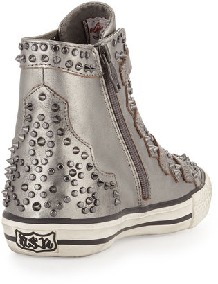Ash Viking Studded Buckled High-Top Sneaker, Silver
