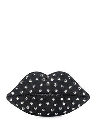 Lulu Guinness Studded Lips Perspex Clutch