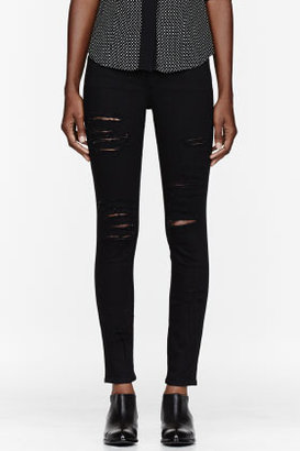 FRAME DENIM Black Ripped Le Color Skinny de Jeanne jeans