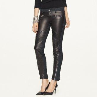 Ralph Lauren Black Label Denim 400 Leather-Front Moto Jean