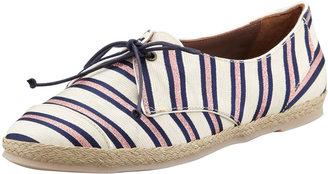 Tabitha Simmons Tie-Striped Flat Espadrille Sneaker, Pink/Navy