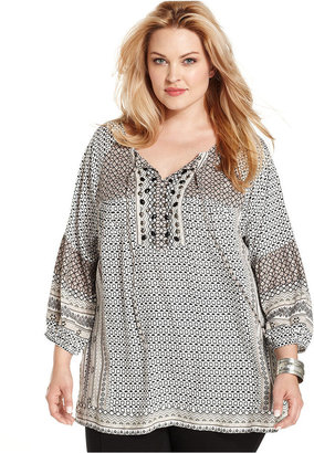 Style&Co. Plus Size Top, Three-Quarter-Sleeve Printed Beaded Peasant