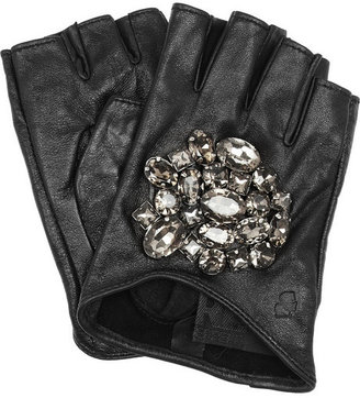 Karl Lagerfeld Attens crystal-embellished leather gloves