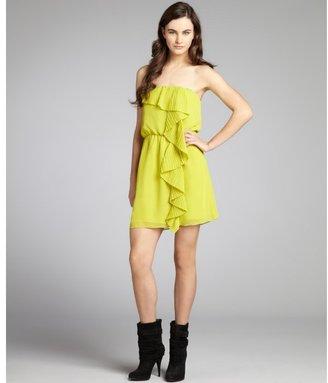 BCBGeneration neon green chiffon pleated ruffle strapless cocktail dress