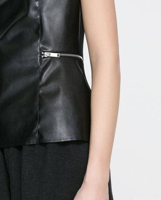 Zara Faux Leather Peplum Top