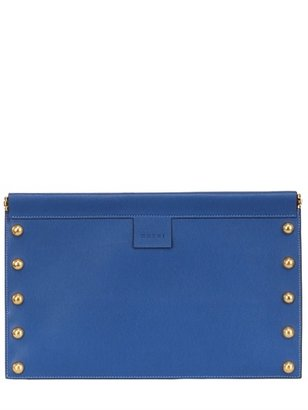 Marni Studded Textured Leather Flat Clutch