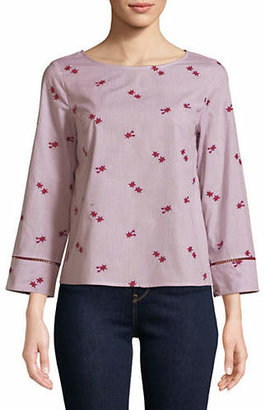 Marella Floral Quarter-Sleeve Cotton Top